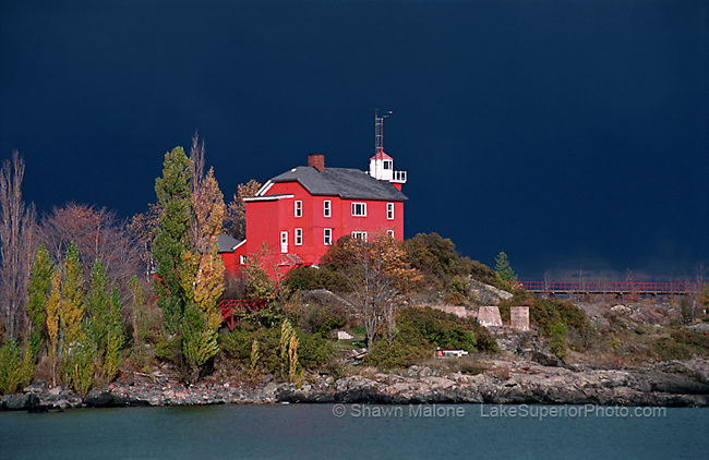 Marquette Lighthouse thunderstorm clouds lighthouses in the Upper Peninsula of Michigan
