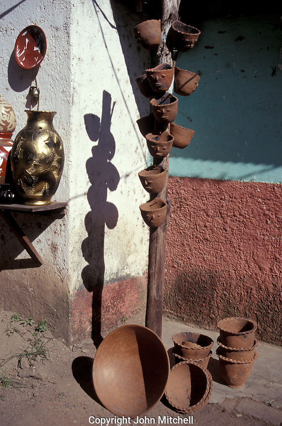 Pottery for sale outside a house in San Juan de Oriente, Pueblos Bloncos, Nicaragua