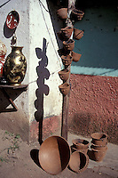Pottery for sale outside a house in San Juan de Oriente, Pueblos Bloncos, Nicaragua