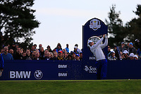 Martin Kaymer (EUR) on the 4th tee during the Saturday Fourball Matches of the Ryder Cup at Gleneagles Golf Club on Saturday 27th September 2014.<br /> Picture:  Thos Caffrey / www.golffile.ie
