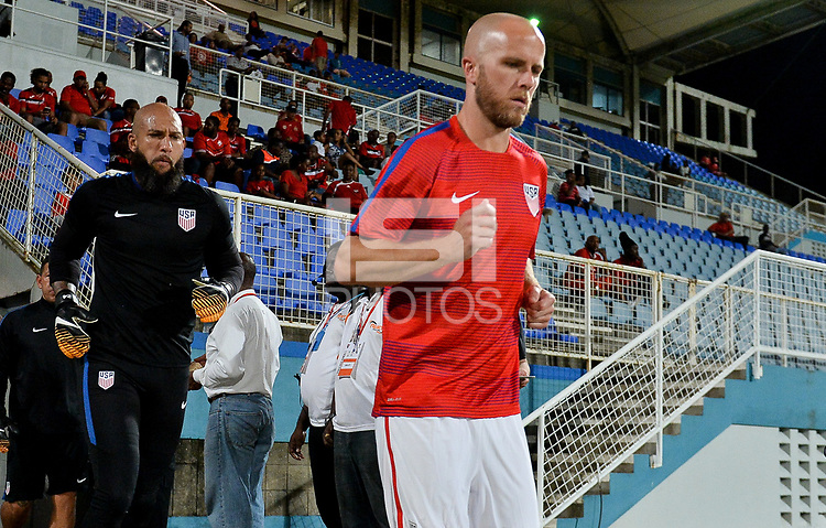 Couva, Trinidad & Tobago - Tuesday Oct. 10, 2017: Tim Howard, Michael Bradley during a 2018 FIFA World Cup Qualifier between the men's national teams of the United States (USA) and Trinidad & Tobago (TRI) at Ato Boldon Stadium.