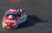 Apr. 13, 2012; Concord, NC, USA: NHRA pro stock driver Jason Line during qualifying for the Four Wide Nationals at zMax Dragway. Mandatory Credit: Mark J. Rebilas-