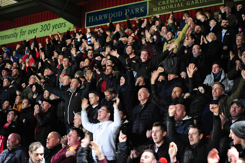 Lincoln City fans applaud their team at the final whistle<br /> <br /> Photographer Andrew Vaughan/CameraSport<br /> <br /> The EFL Sky Bet League Two - Stevenage v Lincoln City - Saturday 8th December 2018 - The Lamex Stadium - Stevenage<br /> <br /> World Copyright © 2018 CameraSport. All rights reserved. 43 Linden Ave. Countesthorpe. Leicester. England. LE8 5PG - Tel: +44 (0) 116 277 4147 - admin@camerasport.com - www.camerasport.com