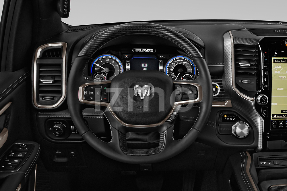 Car pictures of steering wheel view of a 2019 Ram Ram 1500 Pickup Limited Crew Cab 4 Door Pick Up