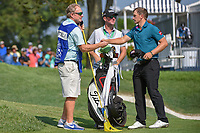 Paul Dunne (IRE) shakes hands following 2nd round of the 100th PGA Championship at Bellerive Country Club, St. Louis, Missouri. 8/11/2018.<br /> Picture: Golffile | Ken Murray<br /> <br /> All photo usage must carry mandatory copyright credit (© Golffile | Ken Murray)