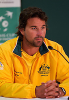 PAT RAFTER in the press conference after LLEYTON HEWITT (Aus) against ROGER FEDERER (SUI) in the Second Rubber of the Davis Cup between Australia and Switzerland. Roger Federer beat Lleyton Hewitt 5-7 7-6 6-2 6-3..Tennis - Davis Cup - World Group - Royal Sydney Golf Club - Sydney - Day 1 - Friday September 16th 2011..© AMN Images, Barry House, 20-22 Worple Road, London, SW19 4DH, UK..+44 208 947 0100.www.amnimages.photoshelter.com.www.advantagemedianetwork.com.