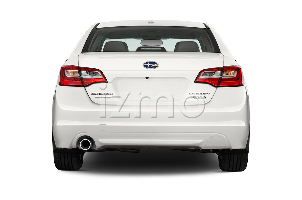 Straight rear view of a 2015 Subaru Legacy 2.5i Premium 4 Door Sedan Rear View  stock images