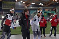 SPEEDSKATING: HAMAR: Vikingskipet, 28-02-2020, ISU World Speed Skating Championships, Erik Bouwman (coach Germany), Roxanne Dufter (GER), ©photo Martin de Jong