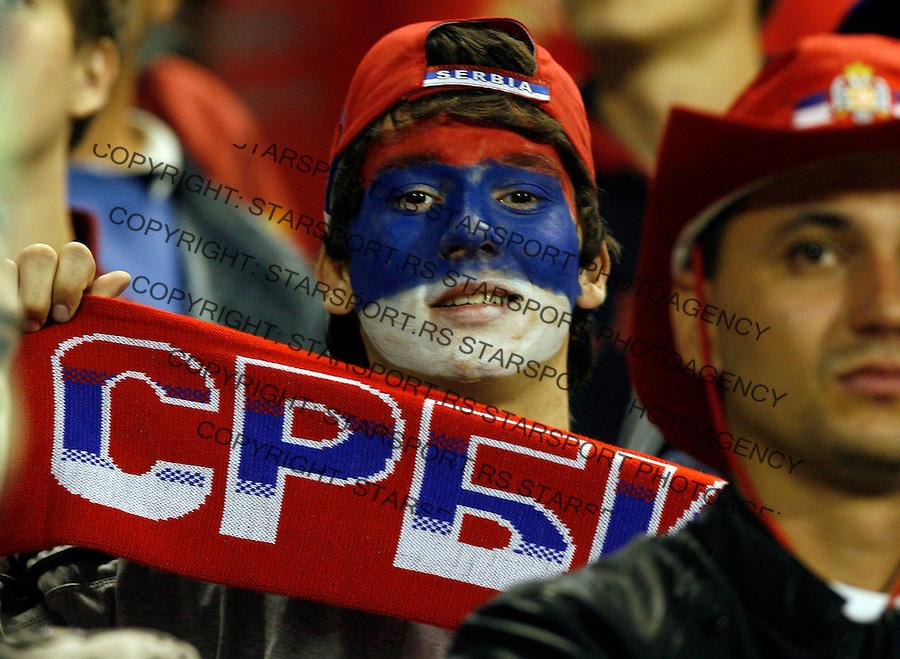 Navijac Navijaci Supporters Fan Fans Sport Soccer Football Worl Cup Qualifying Game Group 7 Serbia Romania Srbija Rumunija Belgrade Beograd 10.10.2009. (credit image photo: © 2009 Pedja Milosavljevic / +381 64 1260 959 / thepedja@gmail.com)