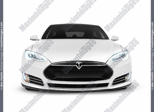 White Tesla Model S Luxury Electric Car Front View Isolated