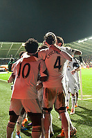 Saturday 2nd Febuaray 2014<br /> Pictured: Wilfried Bony celebrates his goal with his team mates<br /> Re: Barclays Premier League Swansea City FC  v Cardiff City FC at the Liberty Stadium, Swansea
