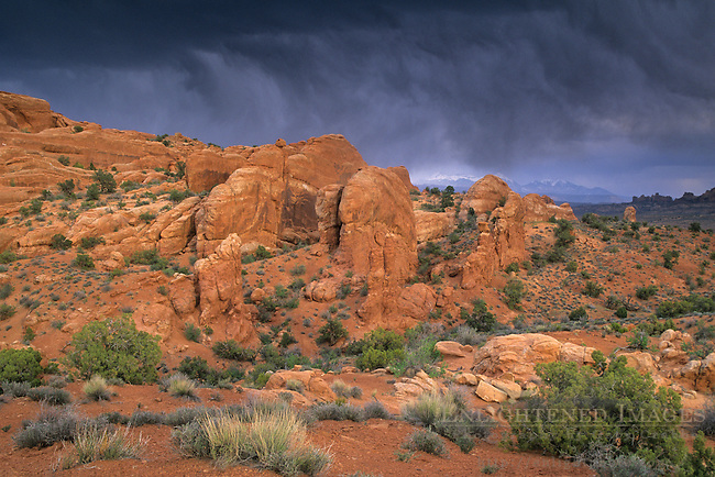 Storm clouds over sandstone formations, near the Fiery Furnace area, Arches National Park, UTAH