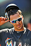 13 March 2012: Miami Marlins infielder Jeff Dominguez returns to the dugout after scoring in the 7th inning of a Spring Training game against the Atlanta Braves at Roger Dean Stadium in Jupiter, Florida. The two teams battled to a 2-2 tie playing 10 innings of Grapefruit League action. Mandatory Credit: Ed Wolfstein Photo