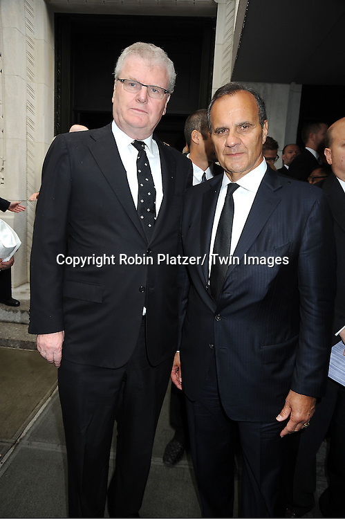Sir Howard Stringer and Joe Torre attends Marvin Hamlisch's funeral on August 14, 2012 .at Temple Emanuel in New York City.