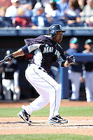Chone Figgins #9 of the Seattle Mariners plays in a spring training game against the San Diego Padres at Peoria Stadium on February 27, 2011  in Peoria, Arizona.   .Photo by:  Bill Mitchell/Four Seam Images.