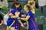 GER - Muelheim an der Ruhr, Germany, February 04: During the FinalFour semi-final women hockey match between Harvestehuder THC (yellow) and Mannheimer HC (blue) on February 4, 2017 at innogy Sporthalle in Muelheim an der Ruhr, Germany. Final score 4-2 (HT 1-2). (Photo by Dirk Markgraf / www.265-images.com) *** Local caption *** (L-R) Emma Foerter #7 of Mannheimer HC, Maxi Pohl #6 of Mannheimer HC, Nadine Kanler #4 of Mannheimer HC