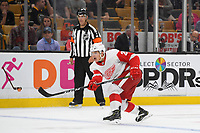 September 26, 2018: Detroit Red Wings defenseman Vili Saarijarvi (29) shoots the puck during the NHL pre-season game between the Detroit Red Wings and the Boston Bruins held at TD Garden, in Boston, Mass. Detroit defeats Boston 3-2 in overtime. Eric Canha/CSM