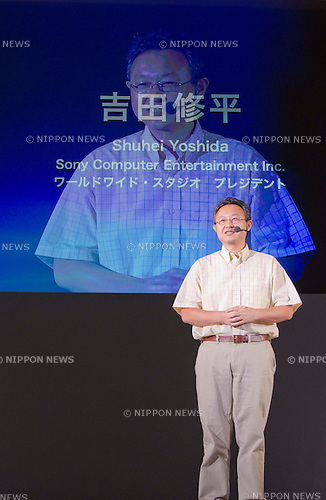 September 15th, 2011 : Chiba, Japan - Shuhei Yoshida, president of Sony Computer Entertainment Inc., gives an important speech regarding the newly promoted device PlayStation Vita, which will be on sale from December 17th in Japan during the Tokyo Game Show 2011 in Makuhari near Tokyo, Japan : The TokyoGame Show, which is the world's largest computer entertainment festival, is held from September 17th to 18th with enjoyment of playing video games. Visitors can try newly promoted games and devices such as the PlayStation Vita. For this year, 192 game companies participate this event. (Photo by Yumeto Yamazaki/AFLO)