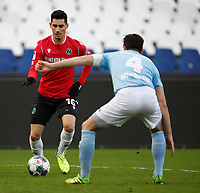 19the January 2020, HDI-Arena, Hannover, Germany; Hannover 96 versus FC Viktoria 1889 Berlin. Sebastian Soto of Hannover takes on Marcus Hoffmann of Viktoria Hannover  ; Soto, an American born player, has reportedly moved from Hannover to Norwich City of the English Premier league