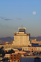 ULAN BATOR, MONGOLIA..09/04/2001.Full moon over the city..(Photo by Heimo Aga)