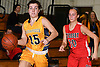 Helena Salmon #15 of Massapequa, left, dribbles downcourt as Camryn Monfort #10 of Syosset defends her during the Nassau County varsity girls basketball Class AA semifinals at LIU Post on Saturday, Feb. 25, 2017. Massapequa won by a score of 48-44.