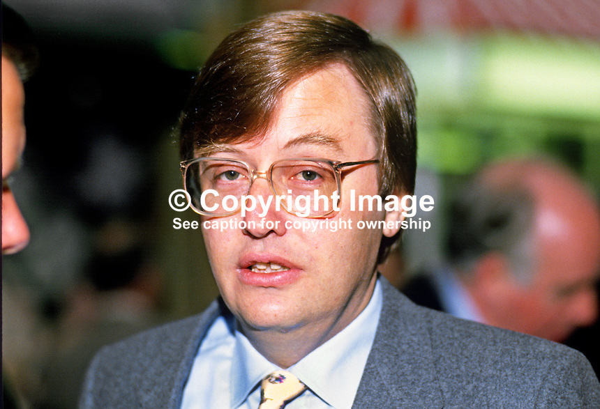 David Mellor, MP, Conservative Party, UK, 19871013DM.<br /> <br /> Copyright Image from Victor Patterson, 54 Dorchester Park, Belfast, UK, BT9 6RJ<br /> <br /> t1: +44 28 9066 1296 (from Rep of Ireland 048 9066 1296)<br /> t2: +44 28 9002 2446 (from Rep of Ireland 048 9002 2446)<br /> m: +44 7802 353836<br /> <br /> e1: victorpatterson@me.com<br /> e2: victorpatterson@gmail.com<br /> <br /> The use of my copyright images is subject to my Terms &amp; Conditions.<br /> <br /> It is IMPORTANT that you familiarise yourself with them. They are available on my website at www.victorpatterson.com.<br /> <br /> None of my copyright images may be used on a website unless they are visibly watermarked, i.e. &copy; Victor Patterson within the body of the visible image. Metadata denoting my copyright must NOT be deleted. <br /> <br /> Web use is extra at currently recommended NUJ rates.
