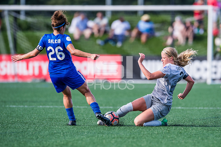Boston, MA - Saturday June 24, 2017: Angela Salem and Makenzy Doniak during a regular season National Women's Soccer League (NWSL) match between the Boston Breakers and the North Carolina Courage at Jordan Field.