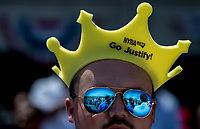 ELMONT, NY - JUNE 09: A fan wearing a Justify crown on Belmont Stakes Day at Belmont Park on June 9, 2018 in Elmont, New York. (Photo by Kazushi Ishida/Eclipse Sportswire/Getty Images)