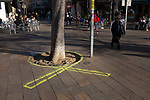 Yellow ribbon painted on street near Sant Cugat del Valles railway station, Catalonia, in support of jailed pro-independence Catalan politicians. Catalan Regional Elections, December 2017, called by Spanish Primer Minister Rajoy following the October 1st referendum on independence, and the application of Article 155 of the Spanish constitution - an attempy by Spain to maintain its unity. While right wing anti-independence party Ciudadanos won the election, they didn't get a majority - a coalition of pro-independence parties instead restored the exiled Carles Puigdemont to the Catalan presidency.