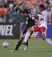 DC United forward Jaime Moreno (99) makes a pass while covered by New York Red Bulls defender Diego Jimenez (29), DC United tied The New York Red Bulls 0-0, at RFK Stadium in Washington DC, Saturday August 30, 2008.