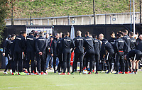 Besprechung Abschlusstraining mit Trainer Adi Hütter (Eintracht Frankfurt) - 20.02.2019: Eintracht Frankfurt Training, UEFA Europa League, Commerzbank Arena, DISCLAIMER: DFL regulations prohibit any use of photographs as image sequences and/or quasi-video.