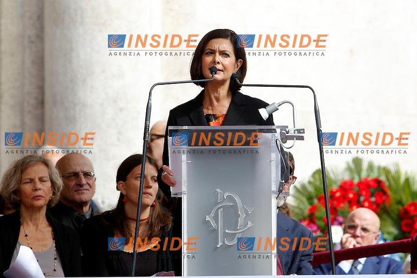 Laura Boldrini<br /> Roma 30-09-2015 Piazza Montecitorio, funerali di Pietro Ingrao.<br /> Funeral of Pietro Ingrao, leader of the Italian Comunist Party, died at the age of 100<br /> Photo Samantha Zucchi Insidefoto
