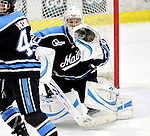 30 October 2010: University of Maine Black Bears' goaltender Dan Sullivan, a Freshman from York, PA, makes an overtime save against the University of Vermont Catamounts at Gutterson Fieldhouse in Burlington, Vermont. The Black Bears defeated the Catamounts 3-2 in sudden death overtime. Mandatory Credit: Ed Wolfstein Photo