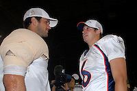 Aug. 31, 2006; Glendale, AZ, USA; Arizona Cardinals quarterback (7) Matt Leinart talks with Denver Broncos quarterback (6) Jay Cutler following the game at Cardinals Stadium in Glendale, AZ. Mandatory Credit: Mark J. Rebilas