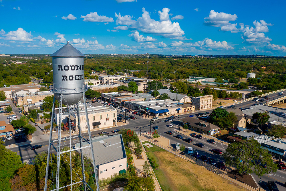The iconic Round Rock water tower was originally built in 1935 by the Pittsburgh-Des Moines Steel Company. The 50,000-gallon, riveted steel tank standing at around 140 feet and has served as a symbol of historic downtown Round Rock.