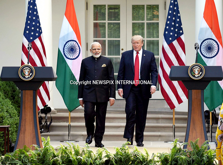 26.06.2017; Washington DC, USA: US PRESIDENT DONALD TRUMP AND INDIAN PM NARENDRA MODI<br /> at the White House, during the Indian Prime Minister&rsquo;s recent visit.<br /> Mandatory Credit Photo: &copy;NEWSPIX INTERNATIONAL<br /> <br /> IMMEDIATE CONFIRMATION OF USAGE REQUIRED:<br /> Newspix International, 31 Chinnery Hill, Bishop's Stortford, ENGLAND CM23 3PS<br /> Tel:+441279 324672  ; Fax: +441279656877<br /> Mobile:  07775681153<br /> e-mail: info@newspixinternational.co.uk<br /> **All Fees Payable To Newspix International**