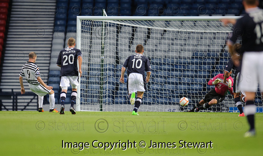 Jamie Longworth scores Queen's Park's first from the spot to make it 1-1 .....