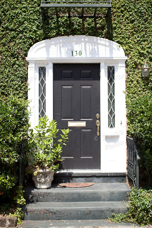 A front door of a home in downtown Charleston South Carolina