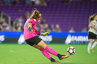 Orlando, FL - Saturday August 12, 2017: Kailen Sheridan during a regular season National Women's Soccer League (NWSL) match between the Orlando Pride and Sky Blue FC at Orlando City Stadium.