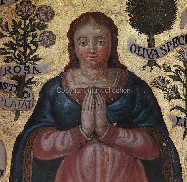 Fresco of the Virgin surrounding the reliquary tabernacle, 1549, in the Basilique Notre-Dame de l'Epine, or Basilica of Our Lady of the Thorn, L'Epine, Marne, Champagne-Ardenne, France. The church was built 1405-1527 in Flamboyant Gothic style, is listed as a historic monument and as a UNESCO World Heritage Site as part of the Santiago de Compostela pilgrimage site. Picture by Manuel Cohen