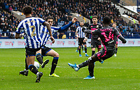 Leeds United's Edward Nketiah (right) shoots at goal <br /> <br /> Photographer Andrew Kearns/CameraSport<br /> <br /> The EFL Sky Bet Championship - Sheffield Wednesday v Leeds United - Saturday 26th October 2019 - Hillsborough - Sheffield<br /> <br /> World Copyright © 2019 CameraSport. All rights reserved. 43 Linden Ave. Countesthorpe. Leicester. England. LE8 5PG - Tel: +44 (0) 116 277 4147 - admin@camerasport.com - www.camerasport.com