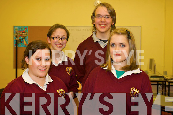 Front L-R Stacey Kelleher and  Siobhan Murphy,.Back L-R  Eileen O'Donoghue and Mark Lynch of Ardscoil Phobal Bheanntrai? who won the first round of the Concern debating competition against Pobailscoil Inbhear Sceine on Tuesday night