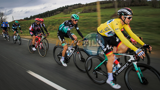 The peloton including race leader Yellow Jersey Maximilian Schachmann (GER) Bora-Hansgrohe in action during Stage 5 of the 78th edition of Paris-Nice 2020, running 227km from Gannat to La Cote-Saint-Andre, France. 12th March 2020.<br /> Picture: ASO/Fabien Boukla | Cyclefile<br /> All photos usage must carry mandatory copyright credit (© Cyclefile | ASO/Fabien Boukla)