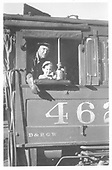 D&amp;RGW K-27 #462's cab with Winfield Laube and his grandson.<br /> RGS  Durango, CO  1950