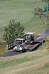 Two golf carts on a golf course in Branson, Missouri