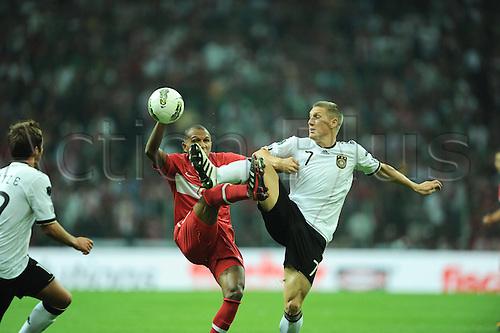 07 10 2011 2012 Euro Football. Turkey versus Germany  AT the Turkcell Telekom Arena Stadium in Istanbul Turkey  Mehmet Aurelio of Turkey and Bastian Schweinsteiger of Germany. Mandatory Credit: Actionplus