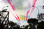 Air display at the finish of Stage 6 of the La Vuelta 2018, running 150.7km from Huércal-Overa to San Javier, Mar Menor, Sierra de la Alfaguara, Andalucia, Spain. 30th August 2018.<br /> Picture: Colin Flockton | Cyclefile<br /> <br /> <br /> All photos usage must carry mandatory copyright credit (© Cyclefile | Colin Flockton)