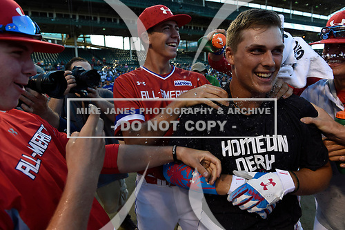 Nolan Gorman (9) of Sandra Day O'Connor High School in Glendale, Arizona during the Under Armour All-American Game presented by Baseball Factory on July 29, 2017 at Wrigley Field in Chicago, Illinois.  (Mike Janes/Four Seam Images)