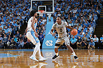 Brandon Childress (0) of the Wake Forest Demon Deacons is defended by Joel Berry II (2) of the North Carolina Tar Heels during first half action at the Dean Smith Center on December 30, 2017 in Chapel Hill, North Carolina.  The Tar Heels defeated the Demon Deacons 73-69.  (Brian Westerholt/Sports On Film)