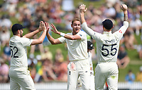 30th November 2019, Hamilton, New Zealand;  Stuart Broad celebrates the wicket of Watling with Sibley and Stokes on day 2 of 2nd test match between New Zealand and England,  International Cricket at Seddon Park, Hamilton, New Zealand.  - Editorial Use